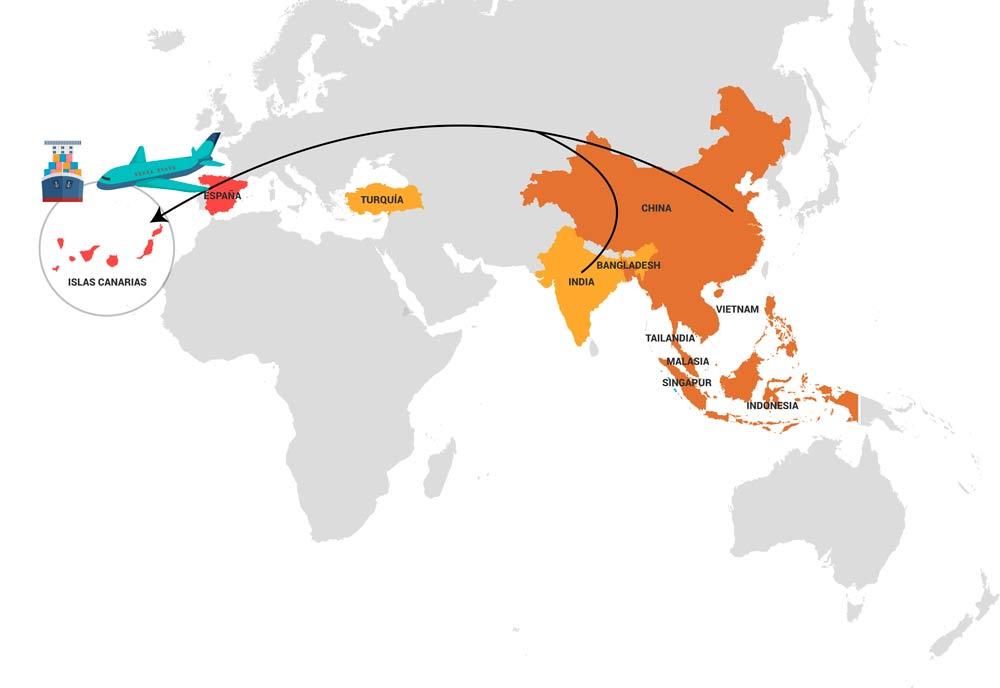 Transporte marítimo y aéreo desde el oriente próximo y extremo oriente hasta Canarias